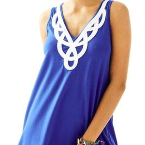 Lilly Pulitzer Blythe V-Neck Blue Swing Dress S